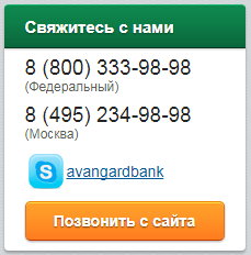 Вклады в банке Авангард